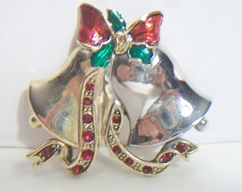 Vintage Christmas Bell Rhinestone Brooch Pin Two Tone Festive Holiday Costume Jewelry