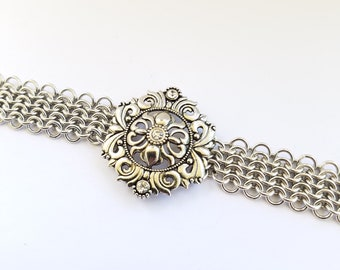 Chainmaille bracelet - European 4 in 1 weave - silver color metal medallion - rhinestones - handwoven - aluminum bracelet - magnetic clasp