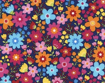 Timeless Treasures - Harper Tribeca - Packed Floral - Navy - Fabric by the Yard C4452-NVY