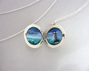 Miniature Lighthouse Oil Painting, Sterling Silver Locket Necklace, Hand-Painted Stormy Seas
