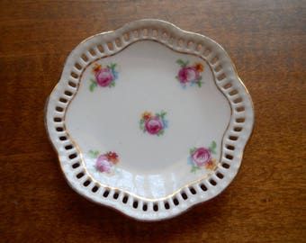 Vintage Butter Pat Plate Bavaria Schumann Very Pretty Shabby Chic Rare with cut outs on rim 14k gold edge Hand Painted