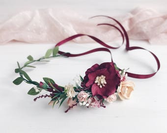 Child Burgundy Flower crown, Flower girl, Deep red Floral crown, Rustic child flower crown, Child floral crown, Child headband, Baby fl