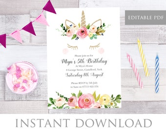 Glitter Unicorn Invitation, Unicorn Birthday Invitation, Girls Birthday Party Invite, Watercolour Flowers, Editable PDF, Instant Download