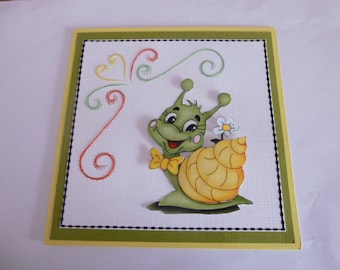 """embroidered 201836 card """"funny snail"""""""