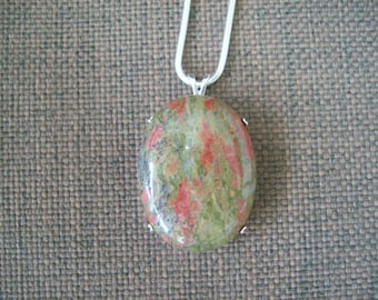 Large Unakite Pendant in Solid Sterling Silver with Chain