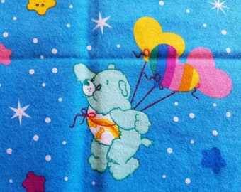 Care Bear Novelty Fabric from 2005, Blue with Balloons, Fat Quarter Sized