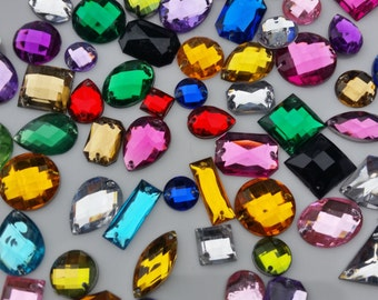 100 Assorted mix Faceted Sew on Beads Diamante Rhinestone Gems Crystal
