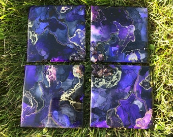 Amethyst Geode Resin Wall Tiles Set/4