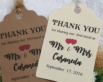 """Personalized Favor Tags 2.5""""L x1.8""""w, Wedding tags, Thank You tags, Favor tags,  Bridal Shower Favor Tags, First dinner tags, first meal"""