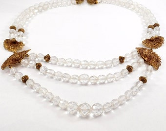 Art Deco Cut Crystal Tiered Filigree Necklace Elegant