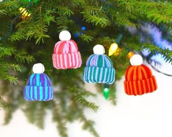 Yarn Decor - Wool Ornament - Cute Christmas Decor - Wreath Ornament - Christmas Decoration Set - Xmas Tree Decorations - Handmade Ornaments