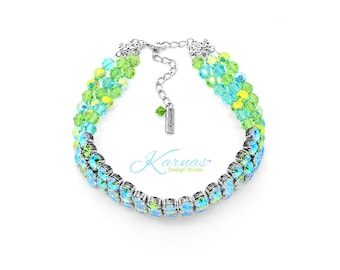 GREEN With ENVY KDS™ Exclusive 8mm Crystal Statement Choker Swarovski Crystal *Antique Silver *Karnas Design Studio™ *Free Shipping