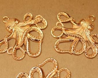 4 pc. Gold Octopus Pendants, 58mm x 55mm | MIS-113