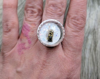 Silver Bee Ring, 6 7 8 9 10, real insect taxidermy ring, unique spring gift for goth teen girl, bug collection jewelry, oddities present