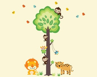 Kids Tree Wall Decal, Jungle Tree WALL DECAL, Kids Tree Wall Decal, Reusable Fabric Wall Decal, Jungle Decal - N301S1