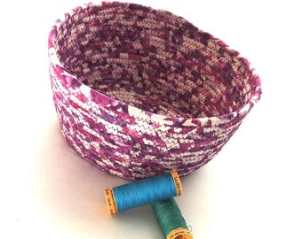 Medium Purple and White Bowl // Handmade Coiled Fabric Basket Centerpiece Bowl Farmhouse Style Rustic Fruit Basket Pantone Color of the Year