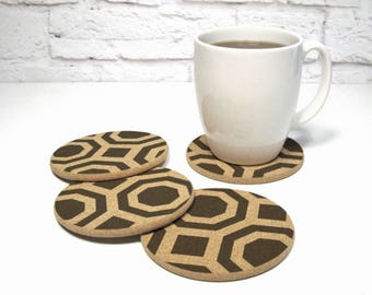 Hollywood Regency Geometric Pattern Cork Coaster Set Modern Home Decor