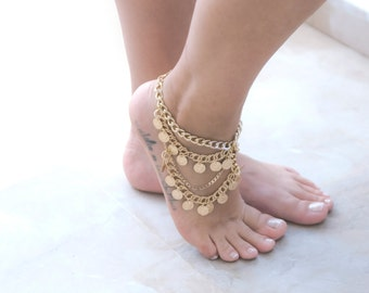 Coin Ankle Bracelet | Gypsy Anklets | Oriental Anklet | Boho Ankle Bracelet | Bohemian Foot Chain | Barefoot Sandals | Bridesmaid Gift
