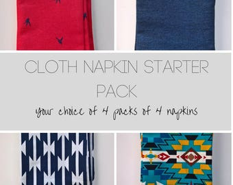 Napkin Starter Set, 16 Assorted Cloth Dinner Napkins, Modern Cloth Napkins, Everyday Cloth Napkins Multi-pack, Reusable Napkin Multi-pack