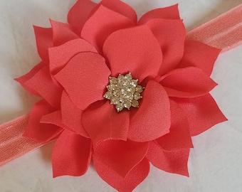 Flower Bow, Headband Rhinestone Center Christmas Headband On Fold Over Elastic Choose Your Color Baby / Little Girls Accessory