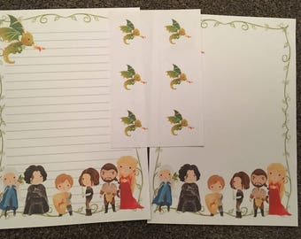 Inspired by Game of Thrones 25 sheet letter writing set & 6 stickers