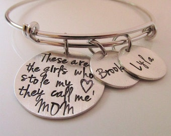 Personalized Bracelet- So There Are These Girls  Mother's  Bracelet - Personalized Jewelry - hand stamped bracelet Mommy gift
