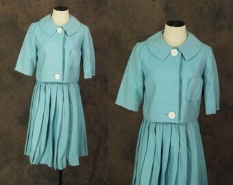 Clearance SALE vintage 50s Suit - 1950s Turquoise Blue Plaid Skirt Suit - Circle Skirt and Jacket Set Sz S M