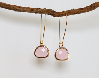 Rose Quartz Earrings - Gold Dangle Earrings - Stone Earrings - Drop Earrings - Birthstone Earrings - Pink Quartz Jewellery - Quartz Earrings