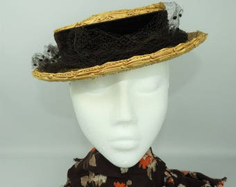 1940's Woolsand Straw Hat with Velvet and Net Trim