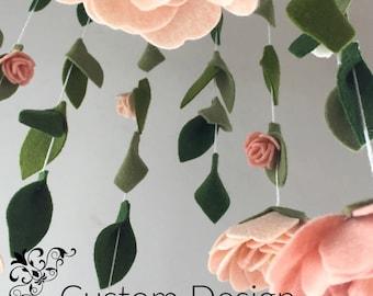 felt flower nursery decor mobile   Custom Colors   flower nursery mobile   Peony and roses