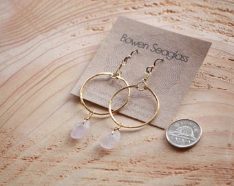 Pale Lavender Seaglass and Brass Earrings