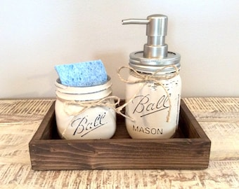 Kitchen Decor, Mason Jar Kitchen Set - Mason jar soap pump, farmhouse kitchen, farmhouse decor, rustic kitchen