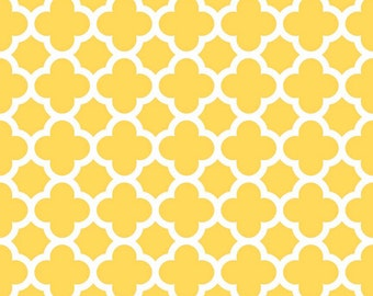 Yellow Quatrefoil Fabric - Yellow Quatre Foil by Riley Blake Designs - Half Yard - 1/2 Yard - C435-50