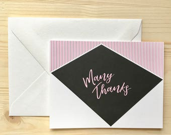 Pink and Black Modern Geo Thank You Card