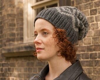 Women's slouchy hat, Slouchy winter hat, Grey knit hat, Fair Isle beanie, Knitted women's hat