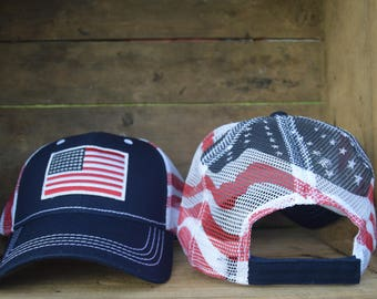 American Flag Patch Hat with the American Flag Printed on the back mesh