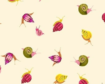 "End of Bolt, Snails in Cream Cotton Lawn Fabric from the Sleeping Porch Collection by Heather Ross for Windham Fabrics 11""x44"""
