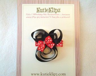SALE - Minnie Mouse Silhouette Hair Clip, Hair Bow, Hair Accessory, Ribbon Sculpture
