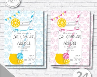 Lemonade Baby shower Invitation  - Lemonade Invite - Lemonade shower Invitation, Lemonade Baby shower - Gender reveal shower