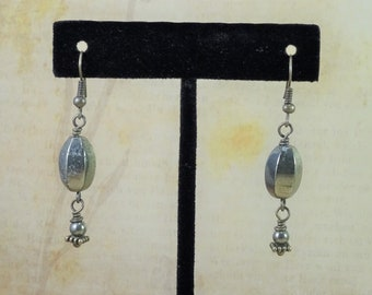 Pyrite and Brass Dangle Earrings