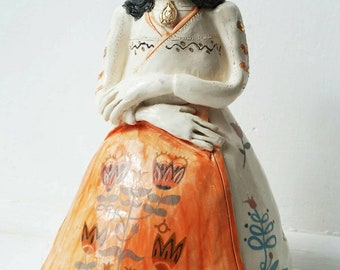 Martha Folk Queen Ceramic Sculpture OOAK