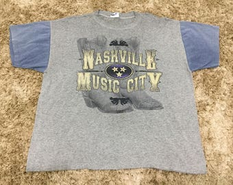 Vintage 80s Nashville Music City Band Multicolor Paper Thin T-Shirt