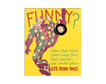 1929 WPA Motivational Funny ? Let's Think Think Twice Vintage Poster Retro Art Print Free US Post Low EU Post