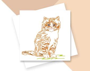 Ginger kitten greetings card
