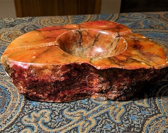 Natural Stone Ashtray Vintage Tobacciana Over 5 Pounds of Natural Stone Gemologist Supply