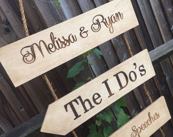 Hanging Wedding Sign, Wooden Wedding Sign, Rustic Wedding Sign