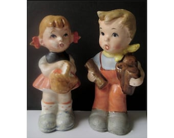 Salt And Pepper Shakers * Hummel Style Boy And Girl * Vintage Tableware
