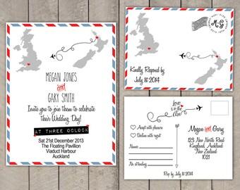 Travel Theme - Destination - Wedding Invitation & RSVP Postcard Set - Air Mail - Par Avion - Custom Countries - Printable - DIY