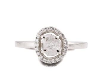 Raw Diamond Ring, 18K White Gold Rough Diamond engagement ring, Unique Engagement ring, rough diamond ring, Raw Halo Ring