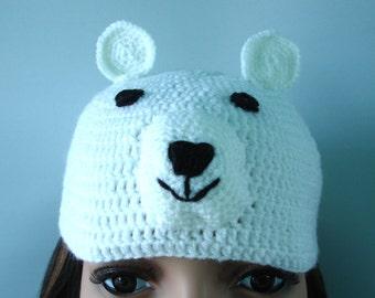 Crocheted polar bear hat - ready to ship